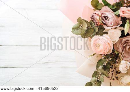 A Large And Beautiful Bouquet Of Fresh Roses, Eustoma, Matiola, Freesia, Eucalyptus, Hydrangea In De