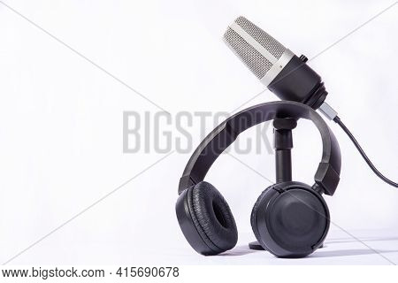 Home Work, Professional Condenser Microphone And Headphones On White Background, High Key Portrait,