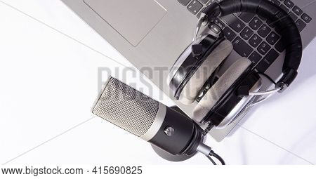 Home Work, Professional Condenser Headset Microphone And Computer, White Background, Top View.
