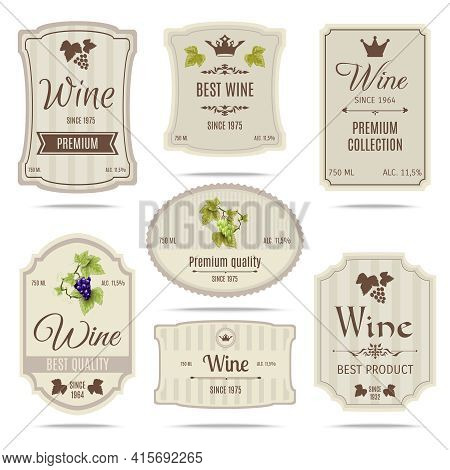 Special Collection Best Quality Grape Varieties And Premium Wine Brand Names Labels Emblems Abstract