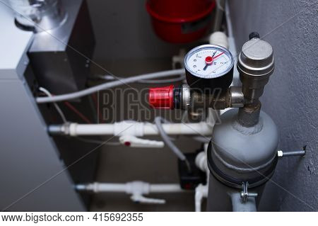 Heating System Of A Private House, Manometer, Distribution Manifold, Boiler Room With Gas Equipment,