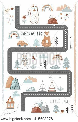 Bream Big, Little One - Cute Kids Poster, Mat Or Tapestry In Scandinavian Style. Road, Mountains And