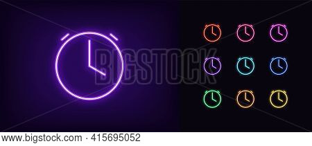 Neon Time Icon. Glowing Neon Clock Sign, Outline Alarm Silhouette In Vivid Colors. Time Management,
