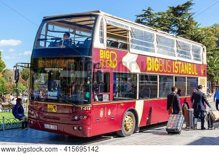 Istanbul, Turkey - October 9, 2019: Excursion Double Decker Bus Awaiting For Tourists. Sightseeing T
