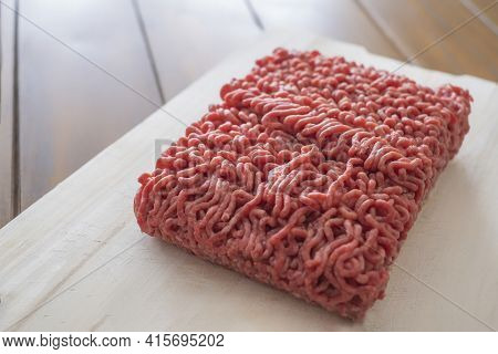 Closeup Of A Piece Of Minced Meat On A Wooden Board, Texture Of Minced Meat, Closeup Of Minced Veal,