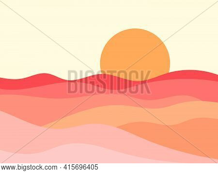 Wavy Landscape In A Minimalistic Style. Sunset Landscape With Hills. Red Sun. Boho Decor For Prints,