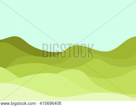 Natura Wave Landscape In A Minimalistic Style. Plains And Mountains. Boho Decor For Prints, Posters