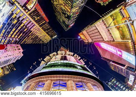 New York, Usa - October 22, 2015:     Night View To Times Square, Featured With Broadway Theaters An