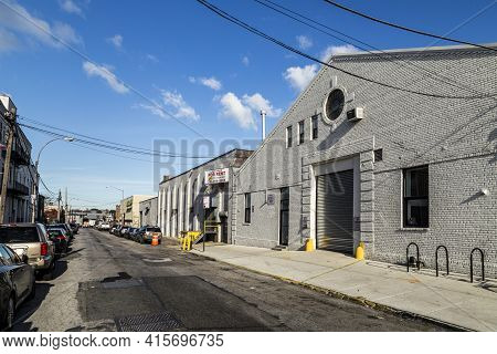 New York, Usa - Oct 26, 2015: Old Brick Building  In New York, Brooklyn. The Old Former Industrial B