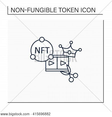 Nft Video Clips Line Icon.clips With Non Fungible Token Coin. Selling.represent Digital Files. Used