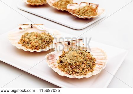 Backed Scallops In Shells On White Background. Scallops Au Gratin On White Plate. Mediterranean Seaf