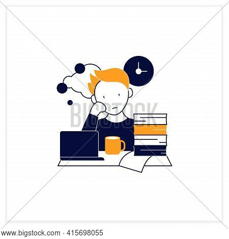 Work Procrastinating Flat Icon.unnecessarily Postpone Dealing Work-related Tasks. Tired Person.overl