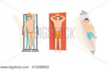 Top View Of Young Men Sunbathing On The Beach Set, People Enjoying Of Summer Holidays Flat Vector Il