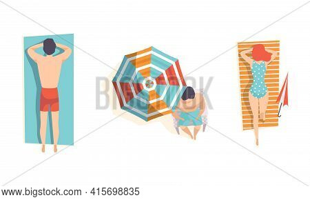 Top View Of People Sunbathing On The Beach Set, Young Man And Woman Enjoying Of Summer Vacation Flat