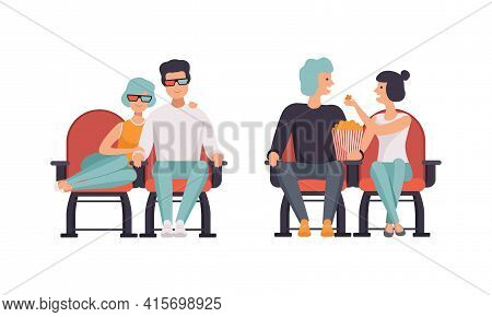 Loving Couples Watching Film In Movie Theater Set, Happy Couple Having Date In Cinema Hall, Front Vi