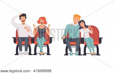 Happy Couples Watching Film In Movie Theater Set, People Having Date On Cinema Hall, Front View Flat
