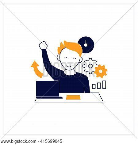 Overcome Procrastination Flat Icon. Solve Work Problems. Fight Depression. Happy Person. Overload Co