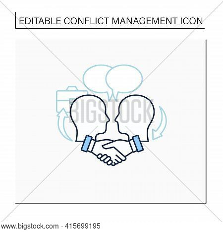 Negotiation Line Icon. Dispute Resolution.compromising. Successfully Handles, Resolves Issues Sensib