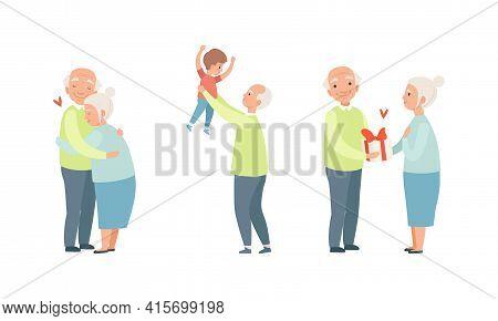 Elderly Loving Couple Set, Happy Grandparents Relationship, Grandpa Having Good Time With His Grands