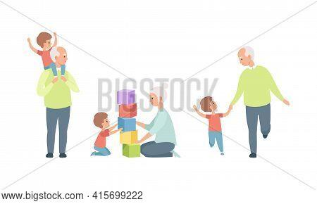 Elderly Loving Couple Set, Happy Grandparents Relationship, Grandma And Grandpa Having Good Time Wit