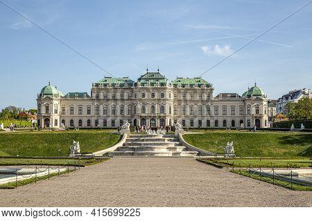 Vienna, Austria - April 25, 2015: Belvedere Palace In Summer, Vienna, Austria.