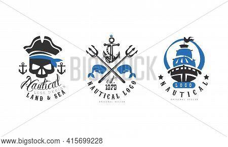 Nautical Logo Design Templates Set, Land And Sea Retro Labels, Nautical Company, Corporate, Products