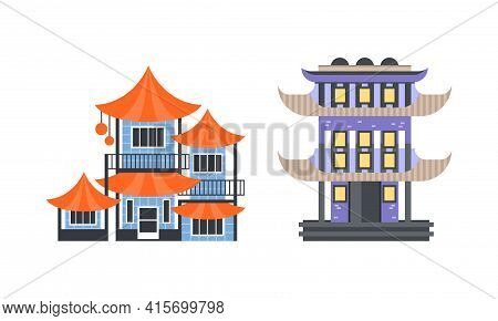 Asian Traditional Buildings Set, Ancient Eastern Cultural Objects, Pagoda Traditional Temple Facades
