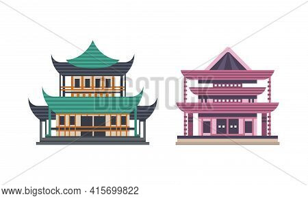 Japanese Or Chinese Traditional Buildings Set, Ancient Asian Cultural Objects, Pagoda Palace Facades