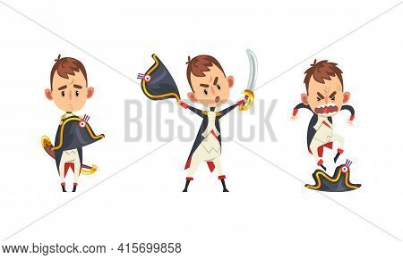 French Emperor Set, Funny Historical Character In Military Uniform With Different Emotions Cartoon V