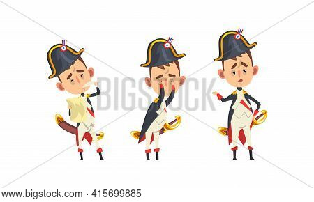 French Emperor Napoleon Bonaparte Set, Funny Historical Character In Military Uniform With Different