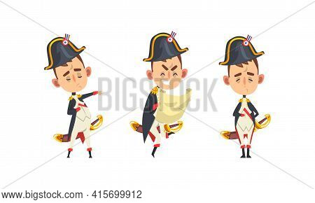 Funny French Emperor Set, Historical Character In With Different Emotions Cartoon Vector Illustratio