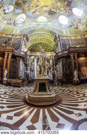 Vienna, Austria - April 24, 2015:  Books In The Beautiful Austrian National Library In Vienna, Austr