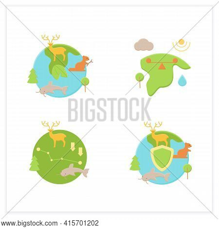 Biodiversity Flat Icons Set. Ecosystem Balance, Protection, Loss. Biodiversity Concept. 3d Vector Il