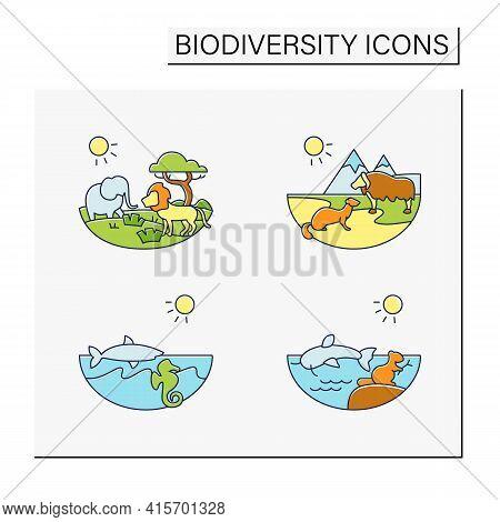 Biodiversity Color Icons Set. Consists Of Desert, Savana, Tundra, Freshwater, Marine Ecosystems. Bio