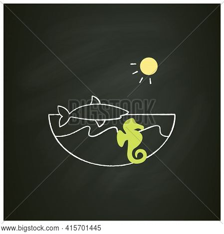 Marine Chalk Icon. Made Up Of The Saltwater Oceans. Living Place For Shark, Seahorse Etc. Underwater