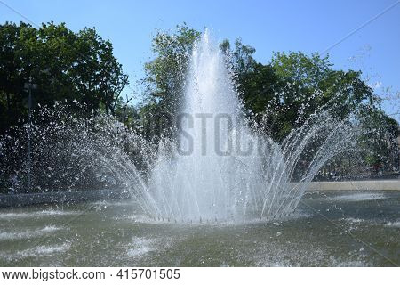 The Beautiful Fountain In The City. Fountain In The City.