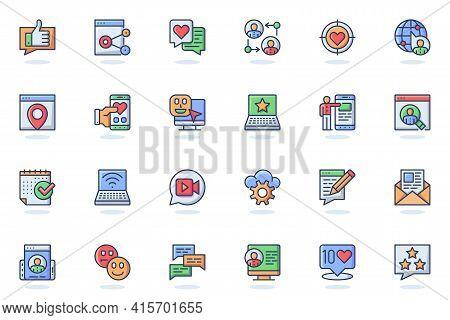 Social Network Web Flat Line Icon. Bundle Outline Pictogram Of Profile Page, Link, Content, Post, Li