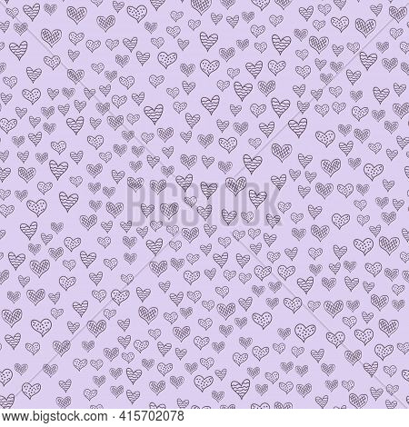 Seamless Patterns With Hand-drawn Hearts. Background With Hearts In The Scandinavian Style