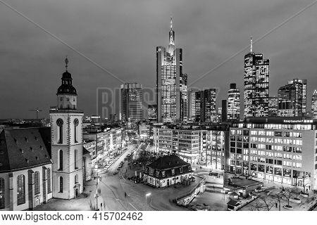Frankfurt, Germany - January 21, 2015: View To Skyline Of Frankfurt With Hauptwache On In Frankfurt,