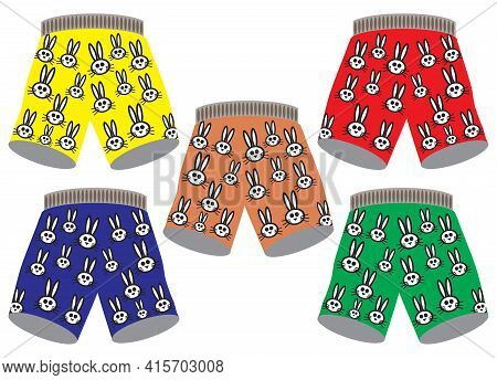 Five Pairs Of Bunny Boxers In Different Colors