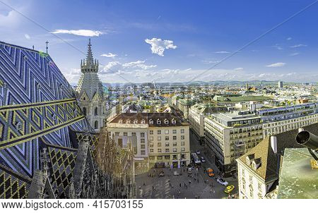 Vienna, Austria - April 27, 2015:  View Of Vienna City From The St. Stephens Cathedral , Austria.