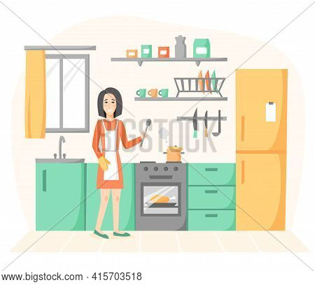 Smiling Woman Cooking In Kitchen. Girl Preparing Homemade Meals, Soup And Chicken. Housewife Kitchen