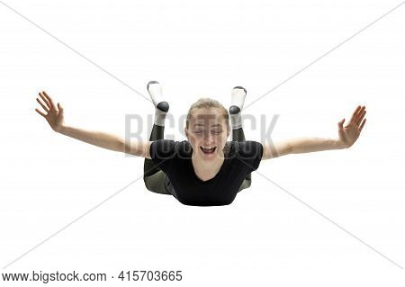 Woman Falling From Height. Flying Without Parachute. Nightmares. Isolated On White Background