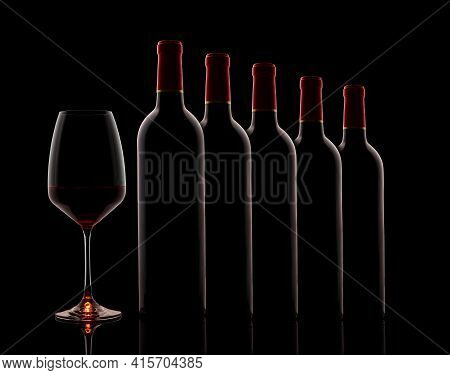 Red Wine Bottles And Glass