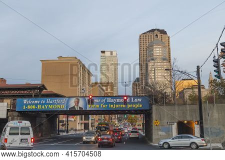 Hartford, Usa - October 27, 2015: Skyline Of Hartford In Evening Sun With Historic And Modern Skyscr