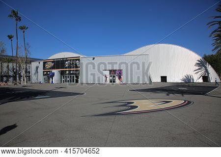 3-31-2021 Anaheim, California - United States: View of the public ice skating venue known as Anaheim ICE - The Rinks. Anaheim California. Editorial Use Only