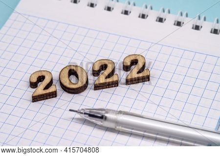 Notebook For 2022. Planning Life For The New Year. Writing Plans For The Coming Year.