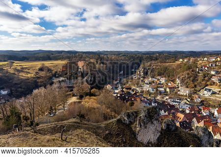 Castle And Town Of Pottenstein, Franconia, Bavaria, Germany. View From Above.