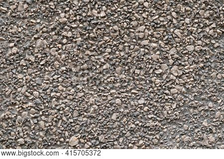 Gravel Crushed Stone Background, Texture Of Gravel Wall Of Abstract Look Brown Color