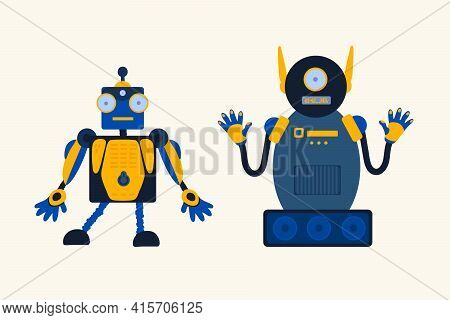 Set Of Robots Toys. Robotics Toys Mechanisms. Children's Toy For Boys. Cartoon Character For A Child